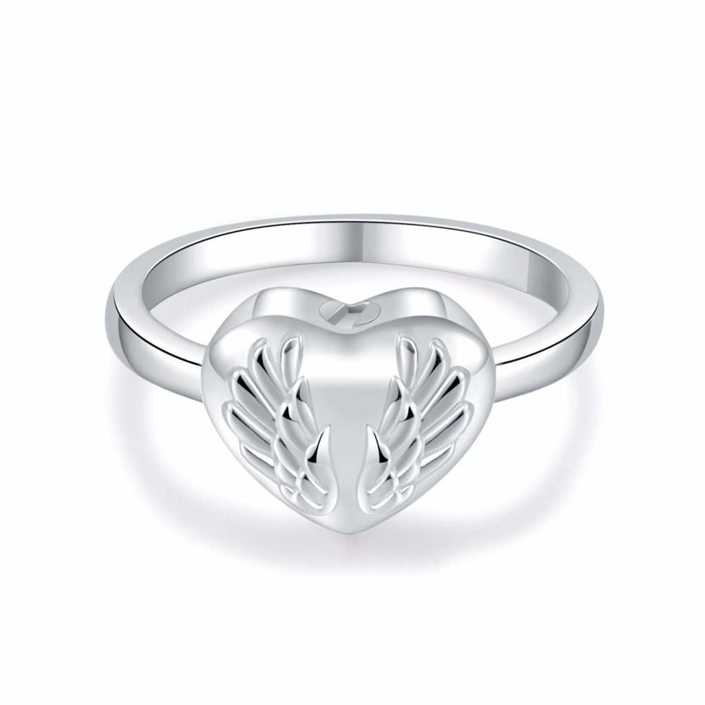 925  Sterling SILVER Heart Angel Wings Cremation Urn Ring