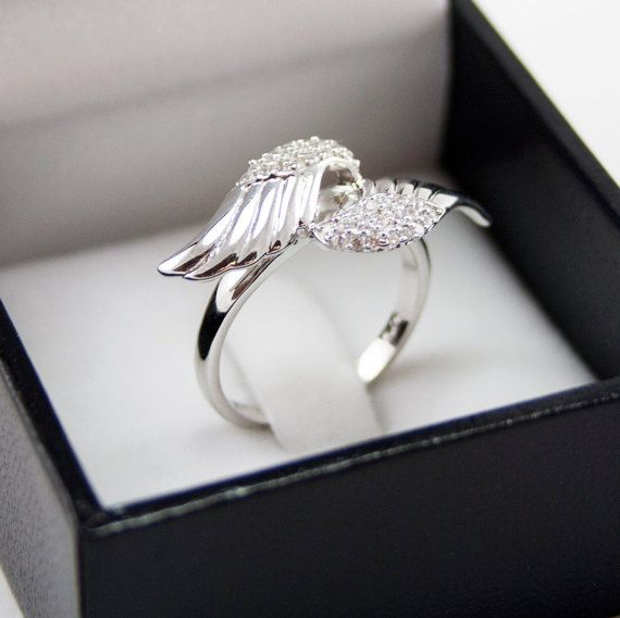 Angel Wings Ring Set Sterling Silver With Simulated Diamond