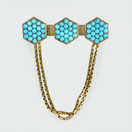 Antique Late Victorian Turquoise set Brooch with Chains