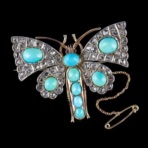Antique Victorian Butterfly Brooch Turquoise Diamond 18ct Gold Circa 1860