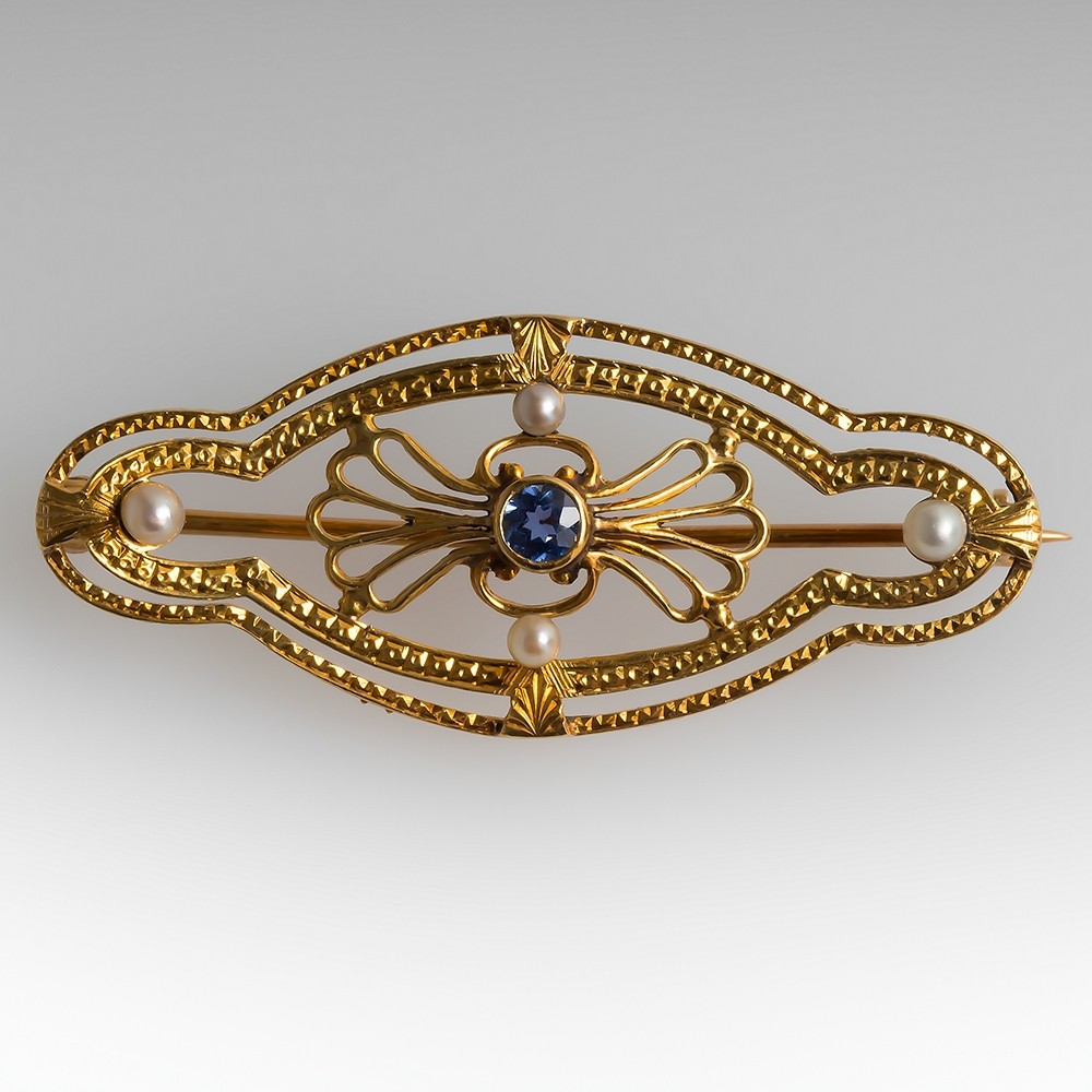 Antique Victorian Era Brooch Pin Sapphire and Pearls 18K Gold