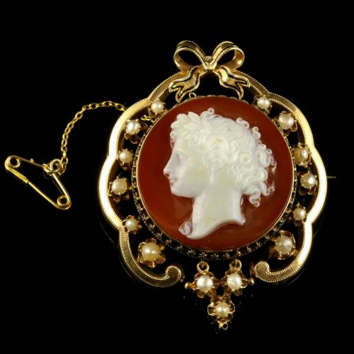 Antique Victorian Hardstone Cameo Brooch 15ct Gold Pearl
