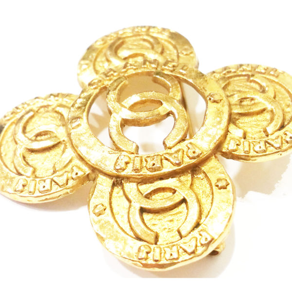 Authentic Vintage Chanel Gold Plated Coin Cross CC Brooch