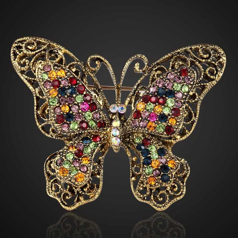 Blucome Mix color Rhinestone Crystal Butterfly Brooch