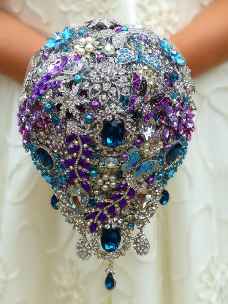 Blue Purple Crystal Peacock Posy Teardrop Brooch Wedding Bouquet