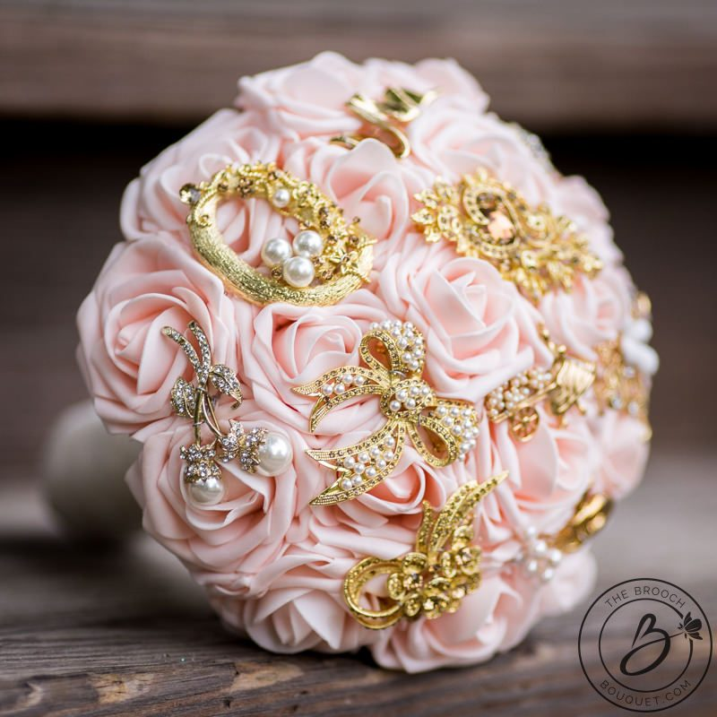 Blush pink and gold brooch wedding bouquet