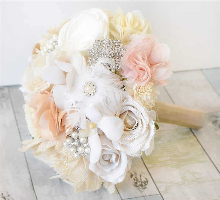 Brooch Wedding Bouquet, Lace Flower Bouquet