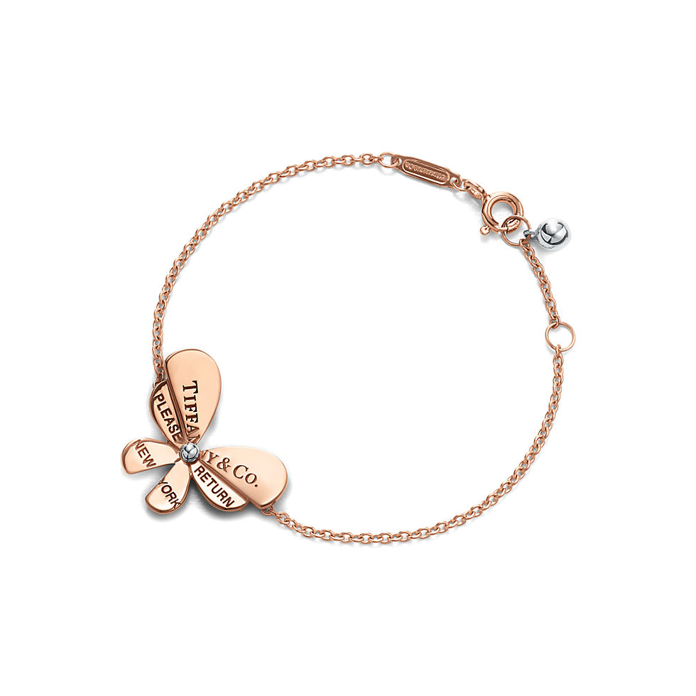 Butterfly Chain Bracelet in 18k Rose Gold and Sterling Silver
