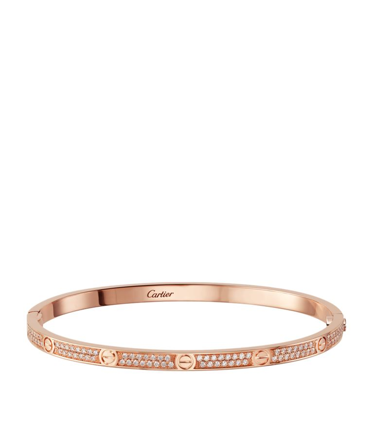 Cartier Small Pink Gold and Diamond-Paved Love Bracelet