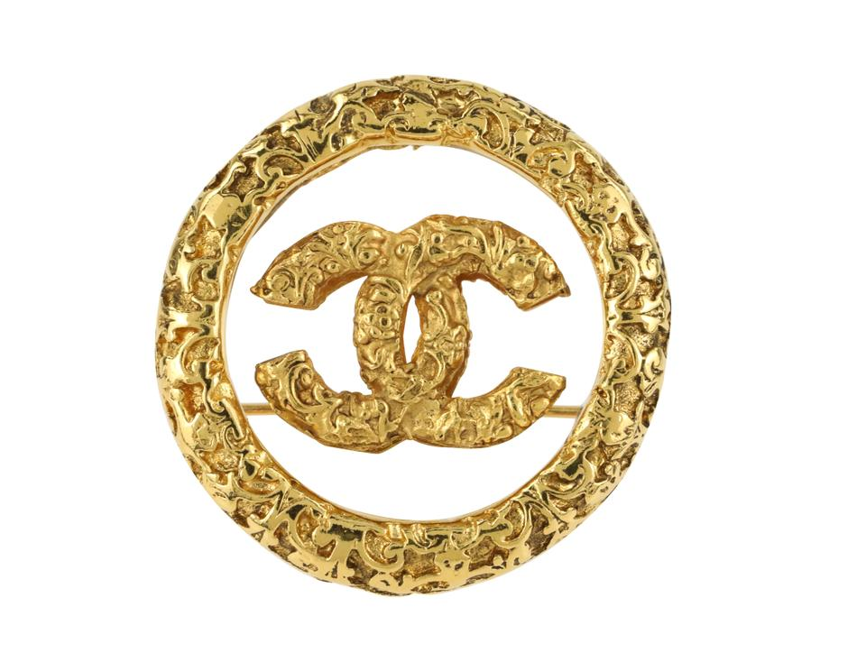 Chanel Gold Cc Brooch Pin