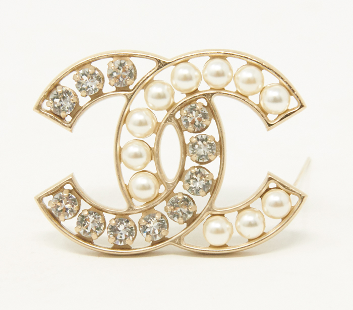 Chanel Pearl and Crystal CC Logo Brooch
