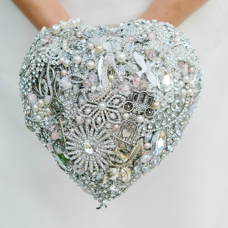 Cinderella Crystal Heart Brooch Bridal Wedding Bouquet