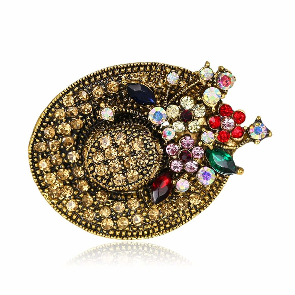 Elimya Brooches For Women Antique Gold Tone Multicolor .