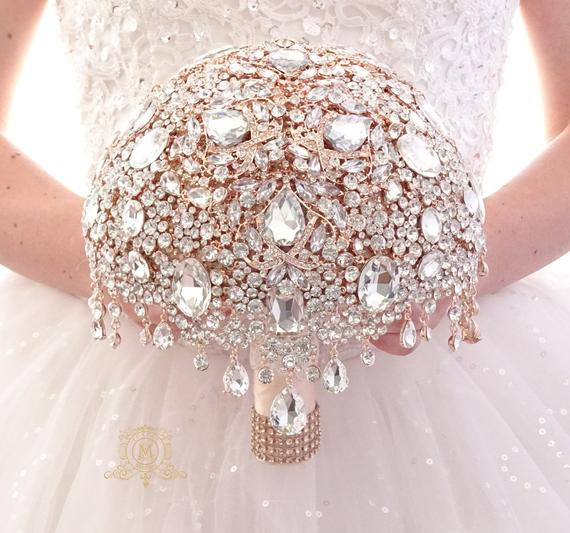 Gold jeweled Crystal silver BROOCH BOUQUET.