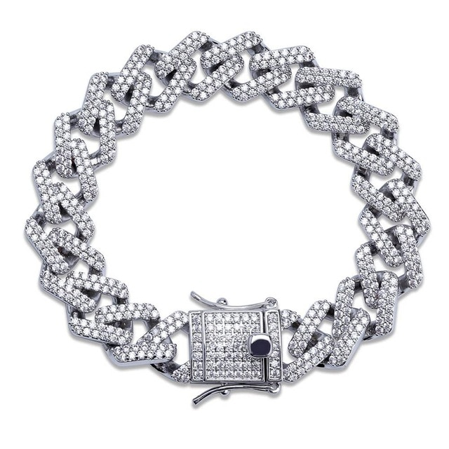 Iced Out Silver Miami Cuban Prong Link Bracelet