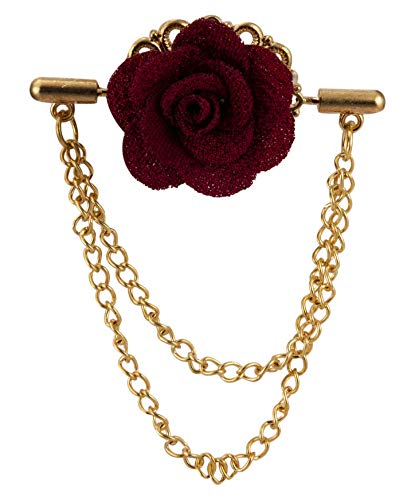 Knighthood Double Maroon Flower with Double Hanging Chain Lapel Brooch/Pin