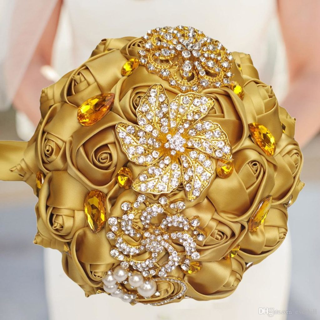 Luxury Gold Crystal Wedding Bouquet