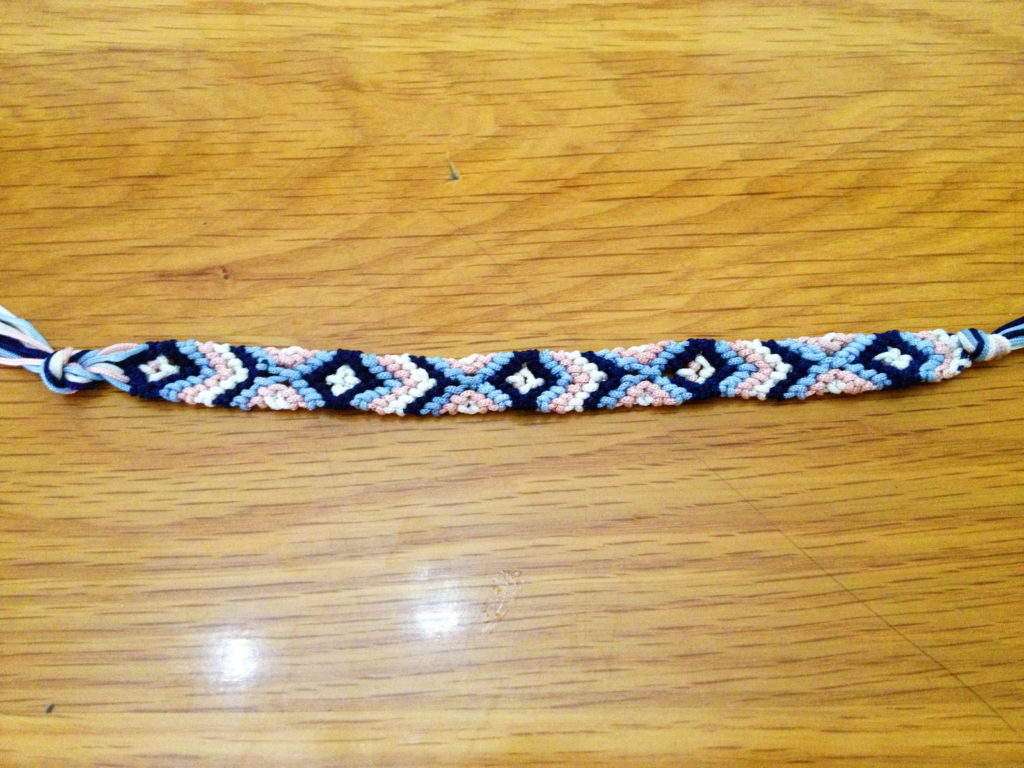 Repeat this until the bracelet is the desired length.