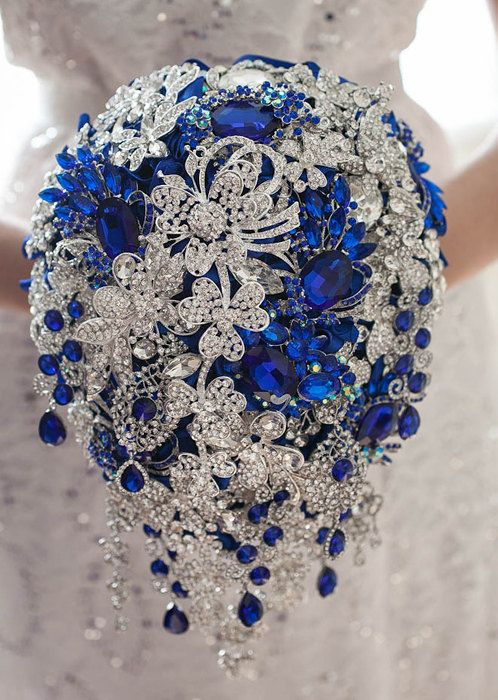 Royal blue brooch bouquet. Blue and Silver crystal wedding
