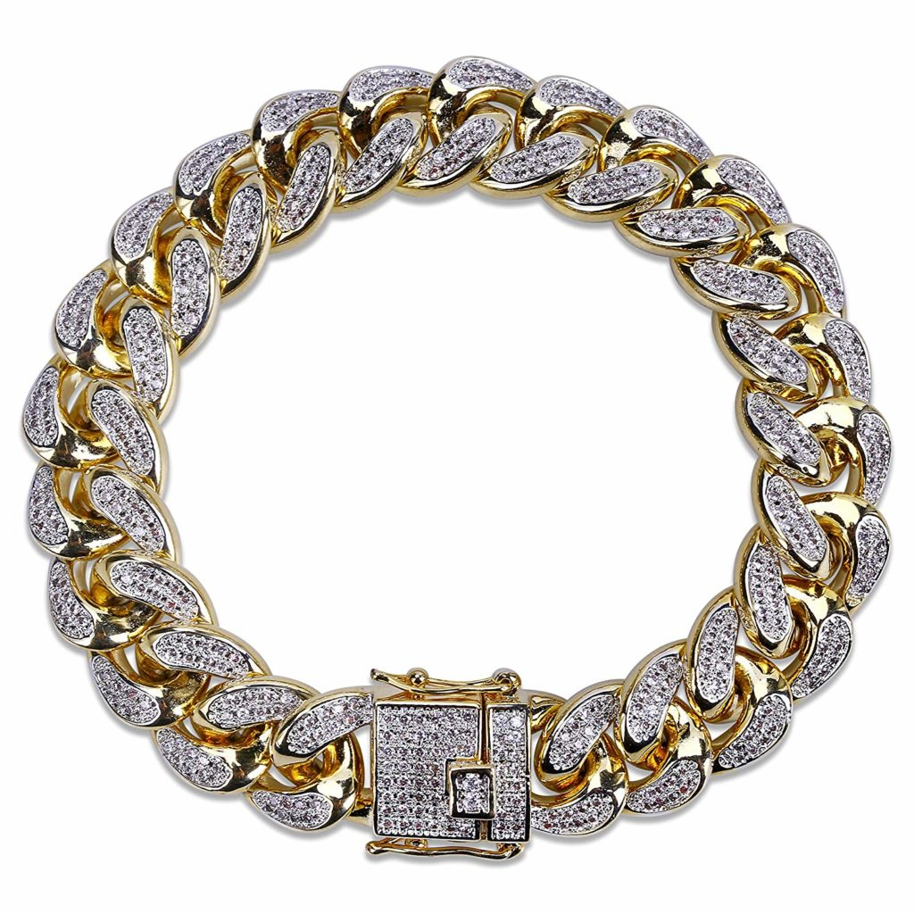 SHINY.U 14mm 14K Gold Plated Hip Hop Iced Out Miami Cuban