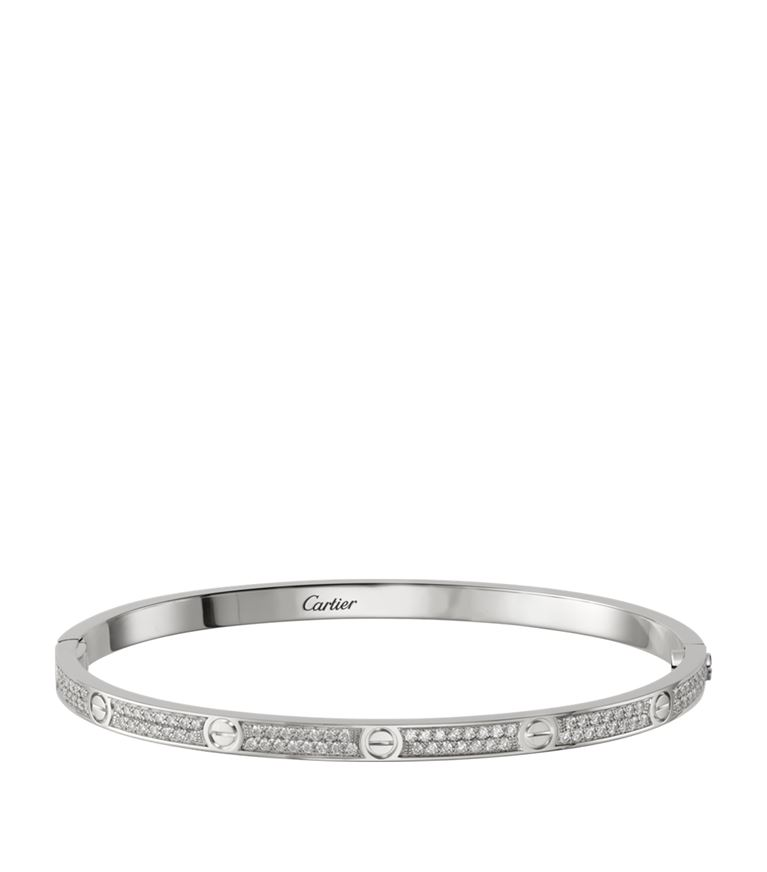 Small White Gold and Diamond Paved Love Bracelet