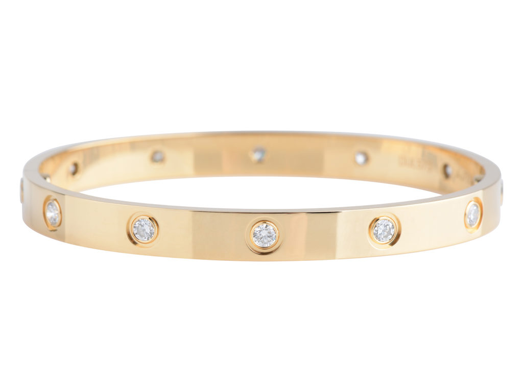 Small Yellow Gold and Diamond-Paved Love Bracelet