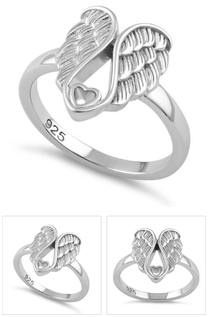 Sterling Silver Angel Rings with Heart Ring