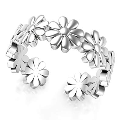 Sterling Silver Daisy Flower Adjustable Toe Band