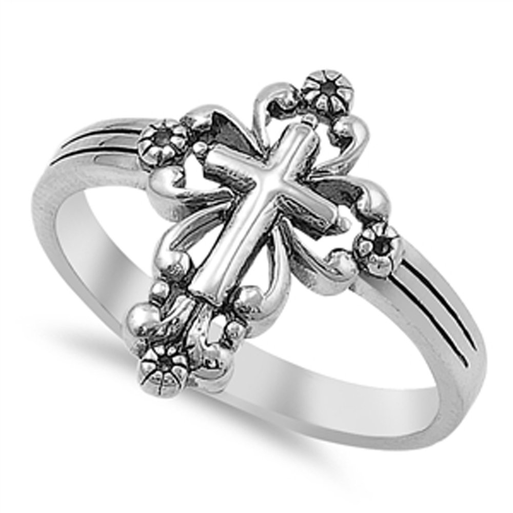 Sterling Silver Victorian Style Cross Ring