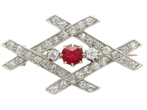 Victorian Ruby and Diamond Brooch