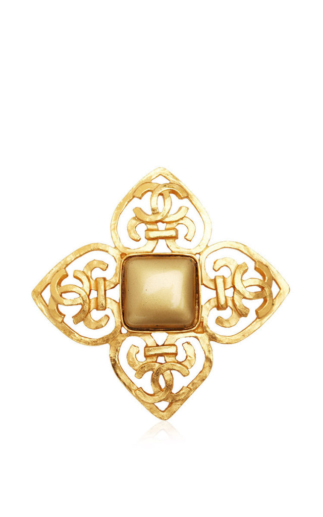 Vintage Chanel Gold Cross Stone Brooch