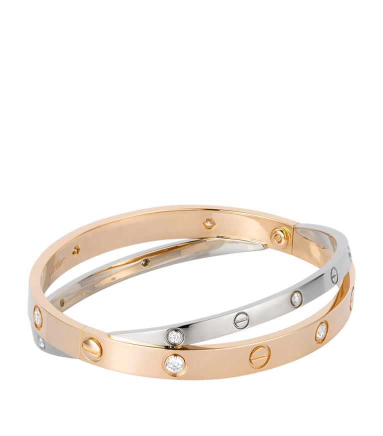 White and Pink Gold Diamond Double Love Bracelet
