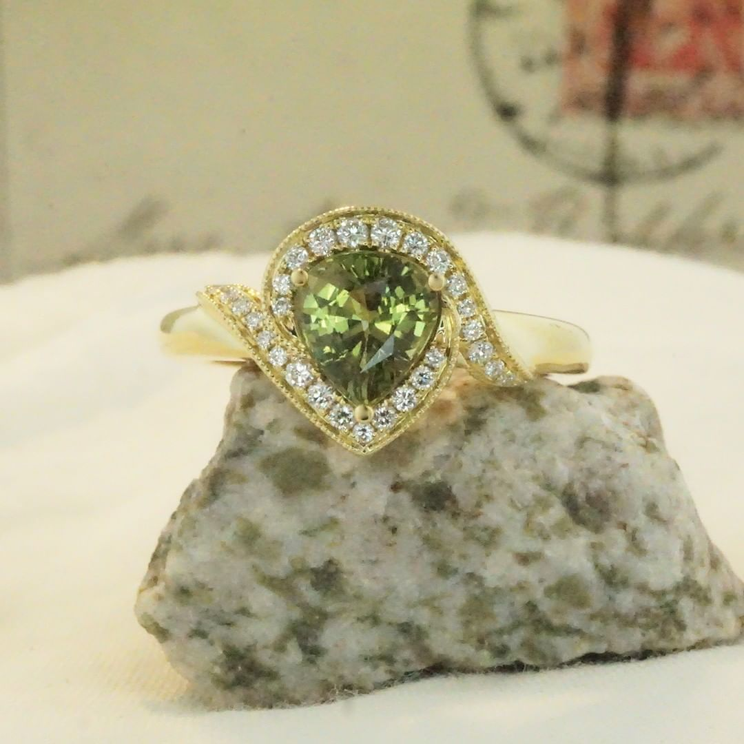 The magic color change of alexandrite. We use the cleaner alexandrite material so that the gem looks wonderful in daylight. Some darker green, more included material may show stronger color change, but how often are you having candlelit dinners to...