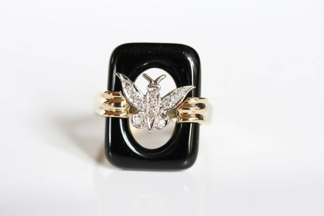 Vintage Onyx and Diamond Butterfly Ring