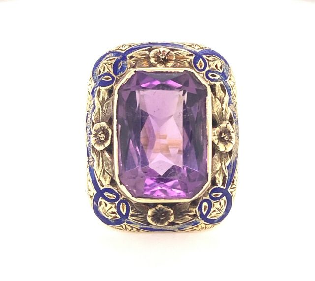 Antique 14k Yellow Gold Amethyst and Enamel Ring