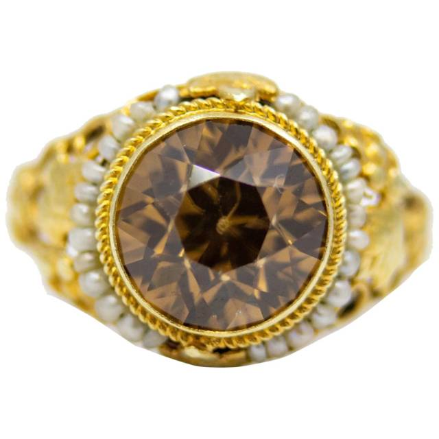 Arts and Crafts 14k Gold Brown Zircon and Pearl Ring