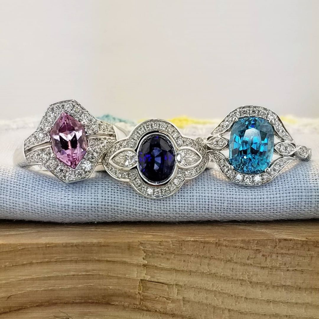 We love color! Pink spinel, blue sapphire and blue zircon rings in 18K white gold. All one-of-a-kind designs. Live life colorfully! Color brings joy. #zomacolor #pinkspinel #pink #spinel #sapphire #bluezircon #blue #zircon #rings #finejewelry...