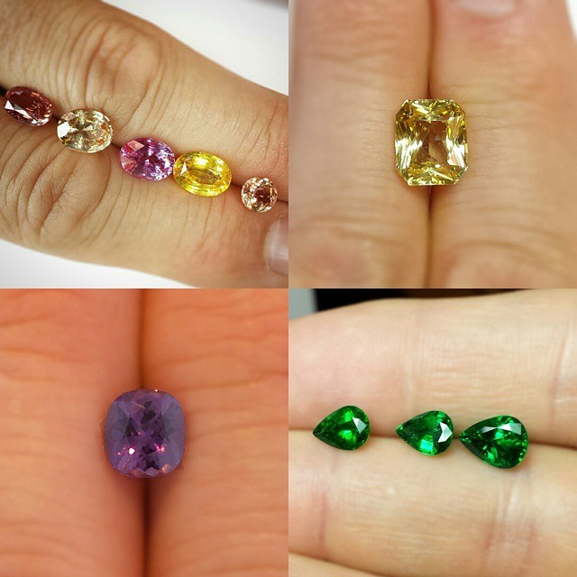 Some nice #color we used for #designs recently. #Pink, #yellow, #purple and #padparadscha #sapphires and #Zambia #emeralds. #zomacolor #luxury #gemstones #coloredstones #gemcollector #finegems #instagems #gems #Ceylon #gemoftheday #gemmy...