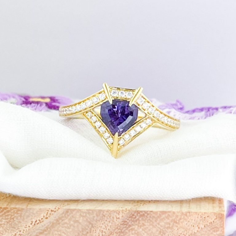 Zoma Color is more than Jewelry; it's a lifestyle. — No heat purple sapphire shield cut in 18K yellow…